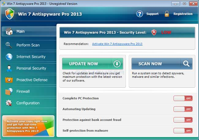 Win 7 Antispyware Pro 2013 screenshot