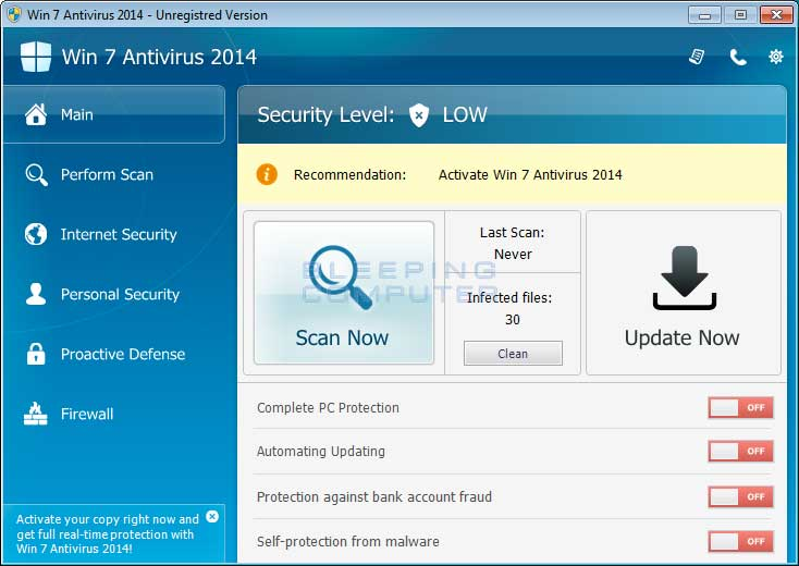 Win 7 Antivirus 2014 screen shot