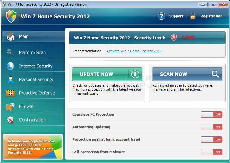 Win 7 Home Security 2012 screen shot
