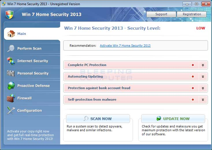 Win 7 Home Security 2013 screen shot