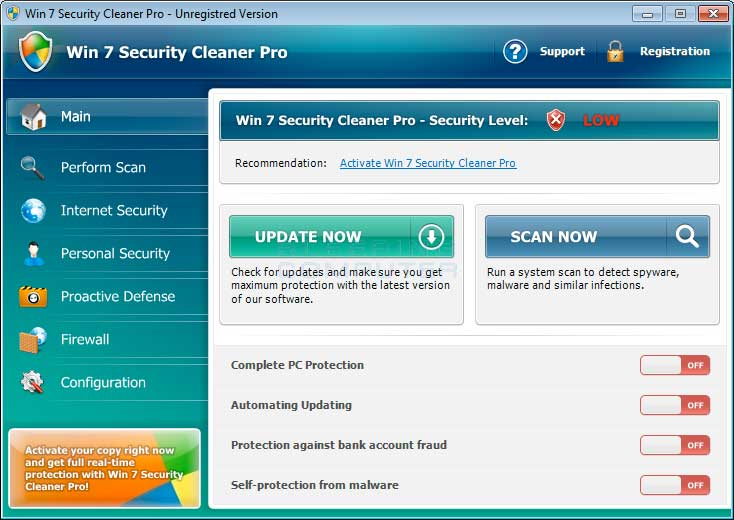 Win 7 Security Cleaner Pro Screen shot