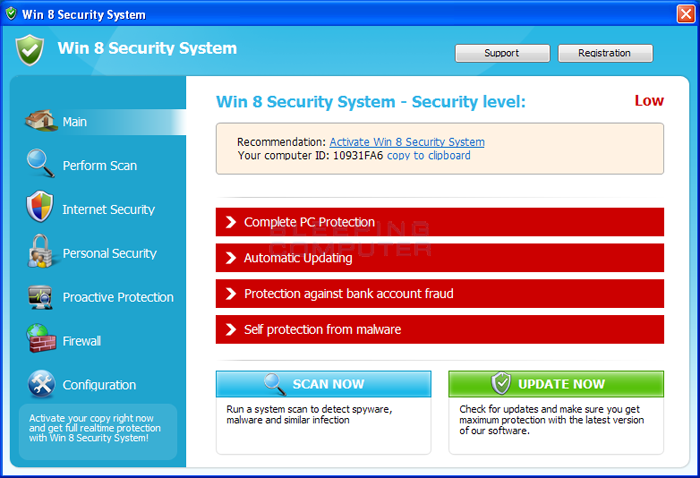 Win 8 Security System screen shot