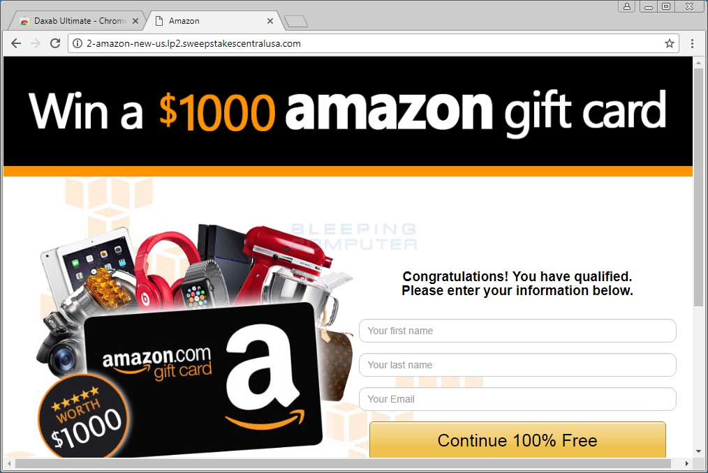 Remove the Win a $1000 amazon gift card Page