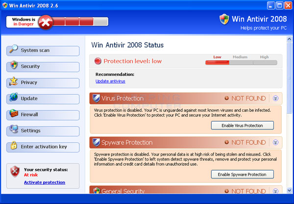 Win Antivir 2008 screen shot