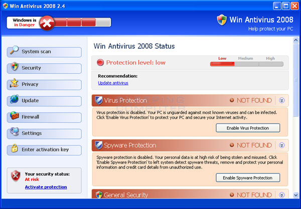 Win Antivirus 2008 screen shot
