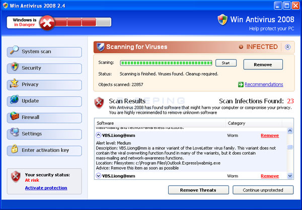 Win Antivirus 2008 scan results