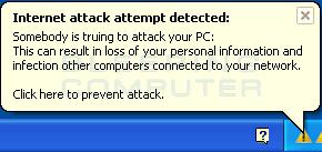 Fake taskbar alert