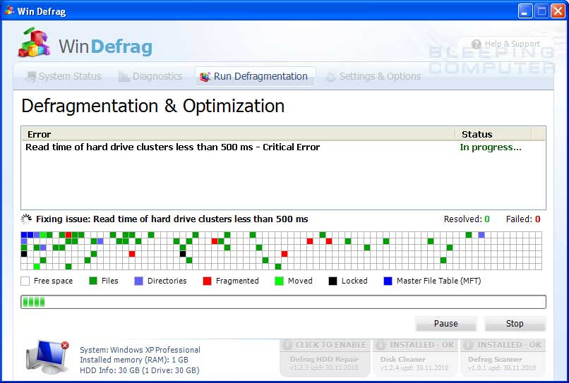 Fake defrag screen