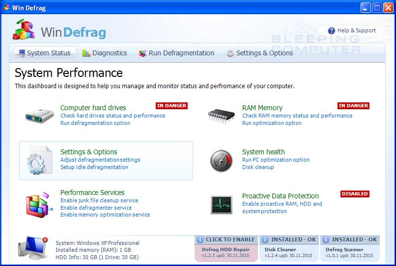 Win Defrag screen shot