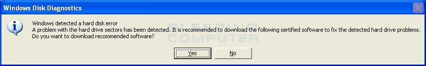 Fake Windows Disk Diagnostics alert