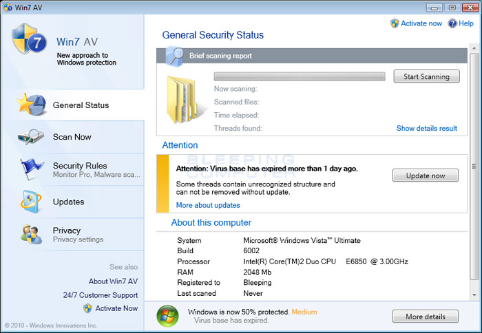 Screenshot of Win7 AV