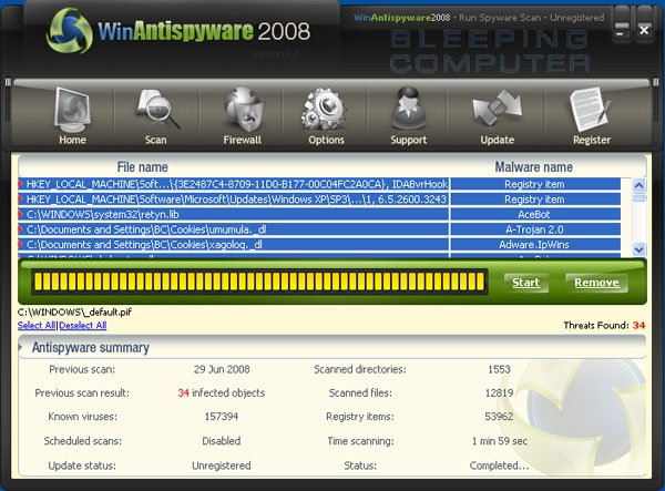 WinAntispyware 2008 scan results