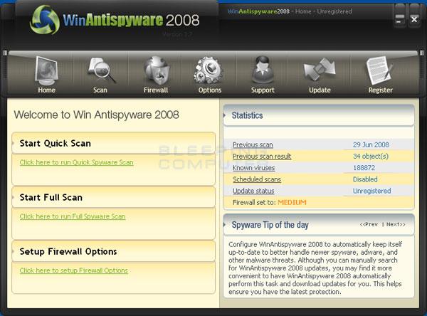 WinAntispyware 2008 screen shot