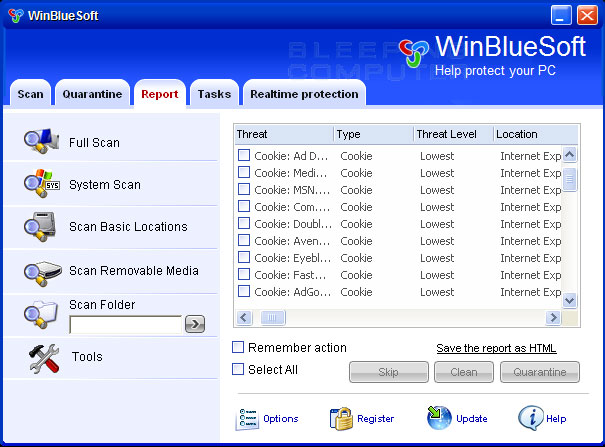 Scan results of WinBlueSoft