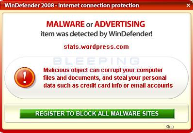 False alert shown by WinDefender