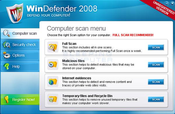 WinDefender 2008 screen shot