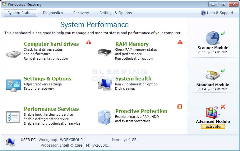 Windows 7 Recovery screen shot