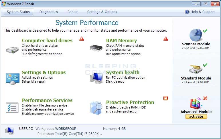Windows 7 Repair screen shot
