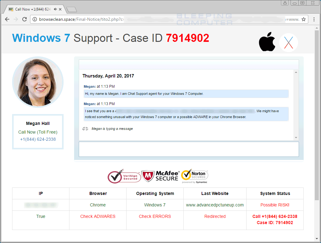 Windows 7 Support - Case ID Tech Support Scam