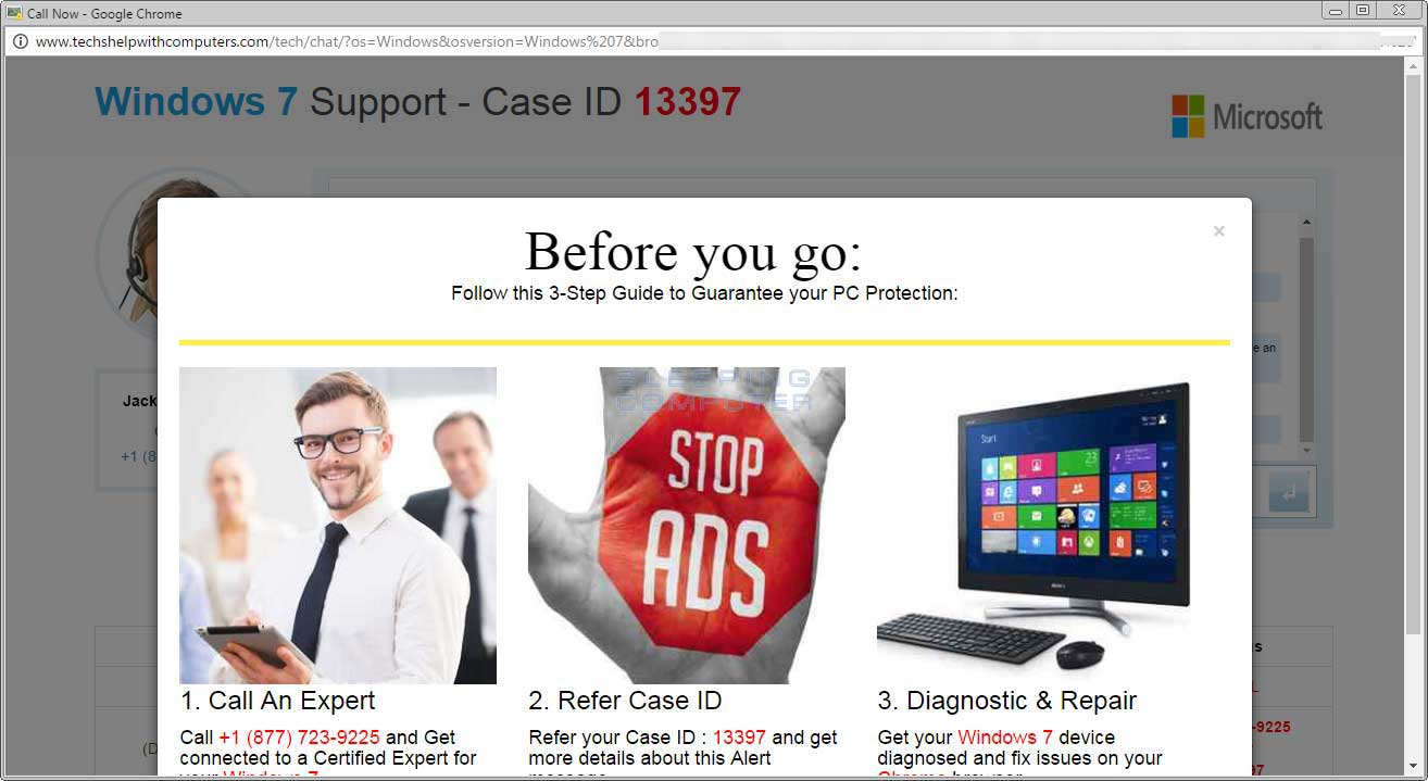 Windows 7 Support - Case ID Tech Support Scam Screen 2