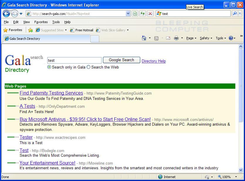 Search-Gala.com Hijack