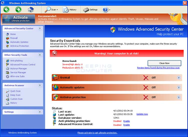 Windows Antibreaking System screen shot
