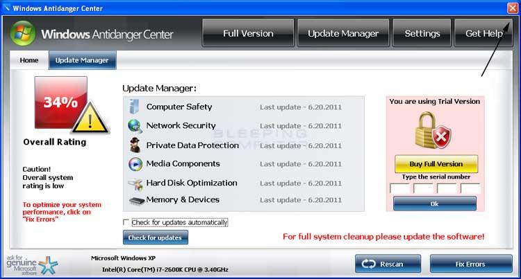 <strong>Windows Antidanger Center</strong> start screen