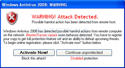 Fake warning displayed by Windows Antivirus 2008