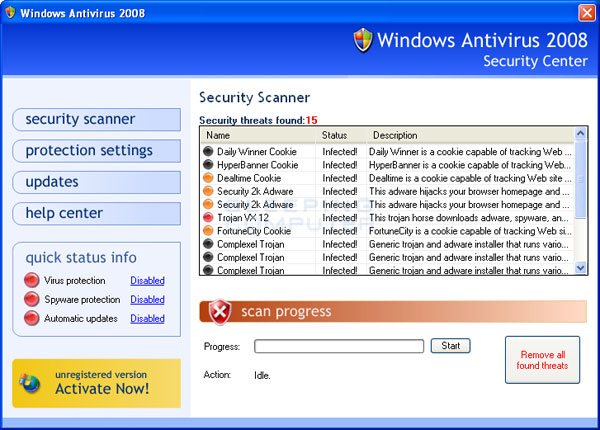 Scan results for Windows Antivirus 2008