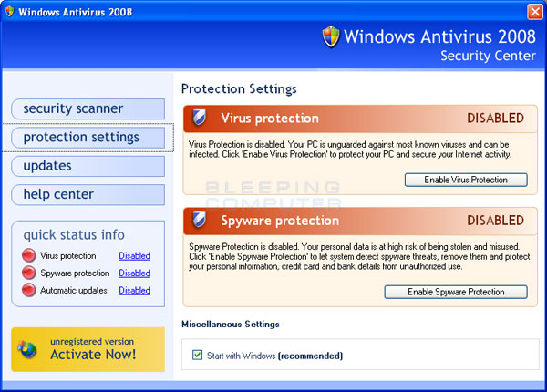 Screen shot of Windows Antivirus 2008