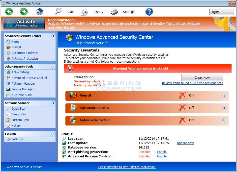 Windows AntiVirus Adviser screen shot