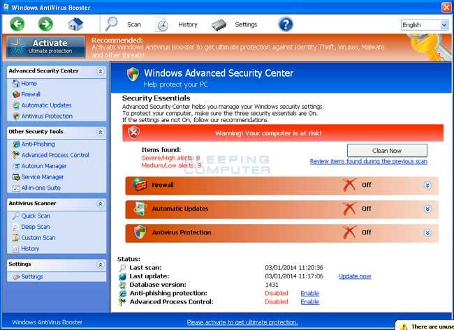 Windows AntiVirus Booster screen shot