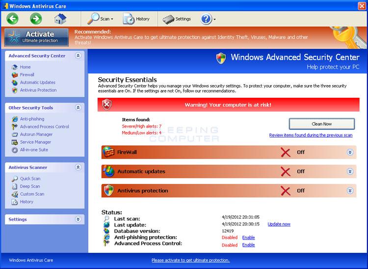 Windows Antivirus Care screen shot
