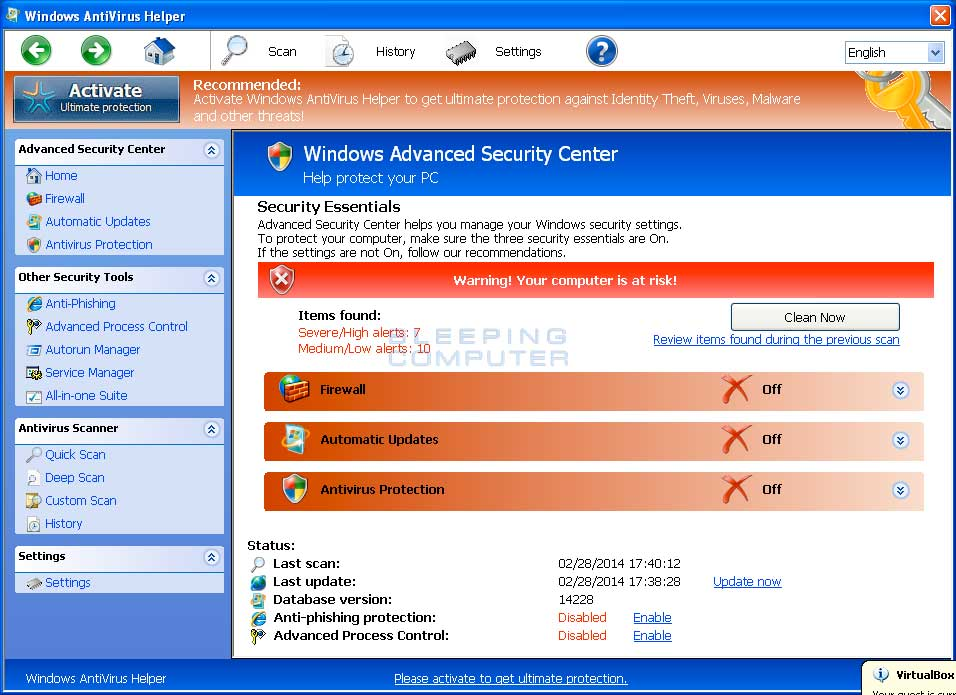 Windows Antivirus Helper screen shot