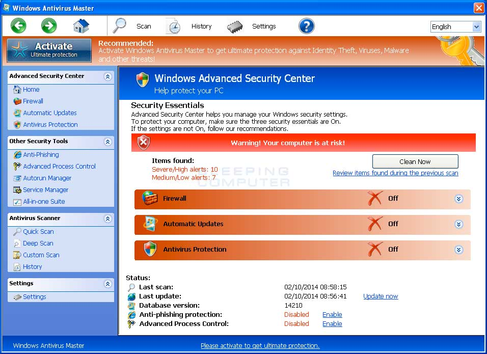 Windows Antivirus Master screen shot