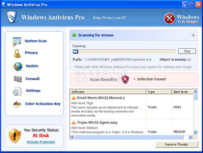 Windows Antivirus Pro scanning a computer