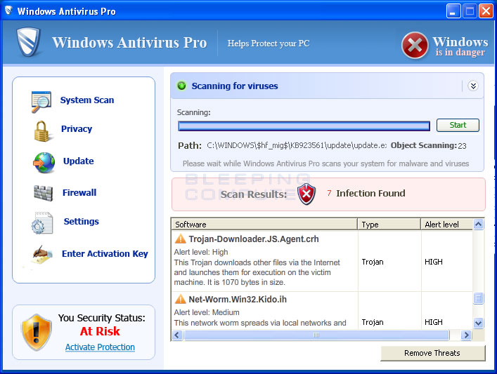 Windows Antivirus Pro screen shot