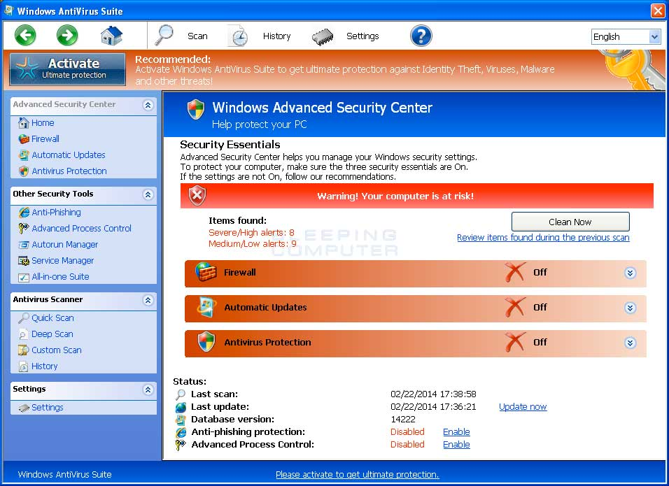 Windows Antivirus Suite screen shot