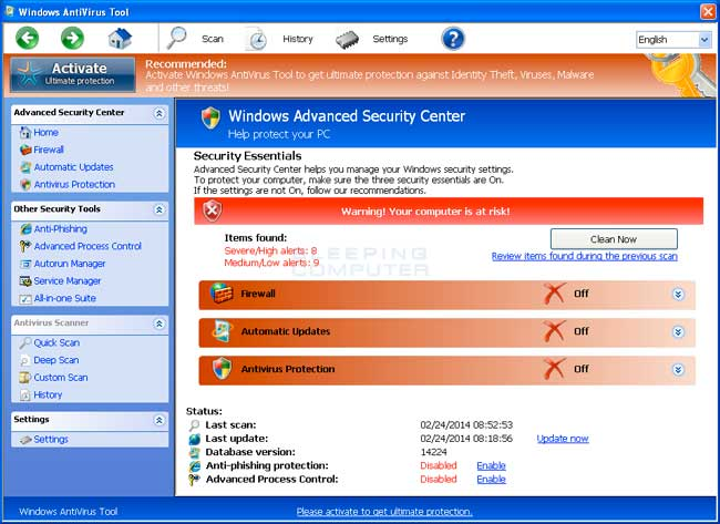 Windows AntiVirus Tool screen shot