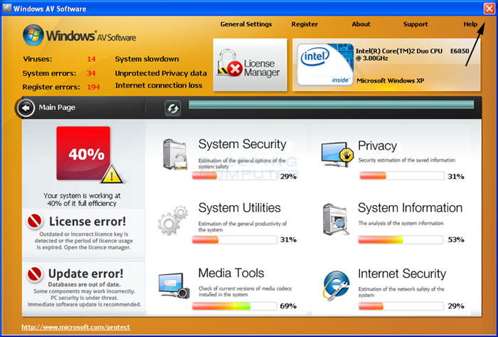 <strong>Windows AV Software</strong> start screen