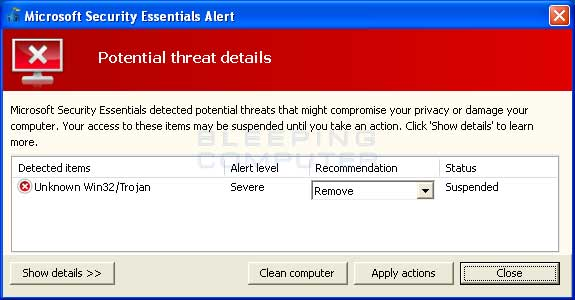 Fake Microsoft Security Essentials alert