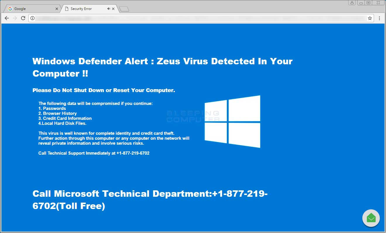 Windows Defender Alert Tech Support Scam Popup