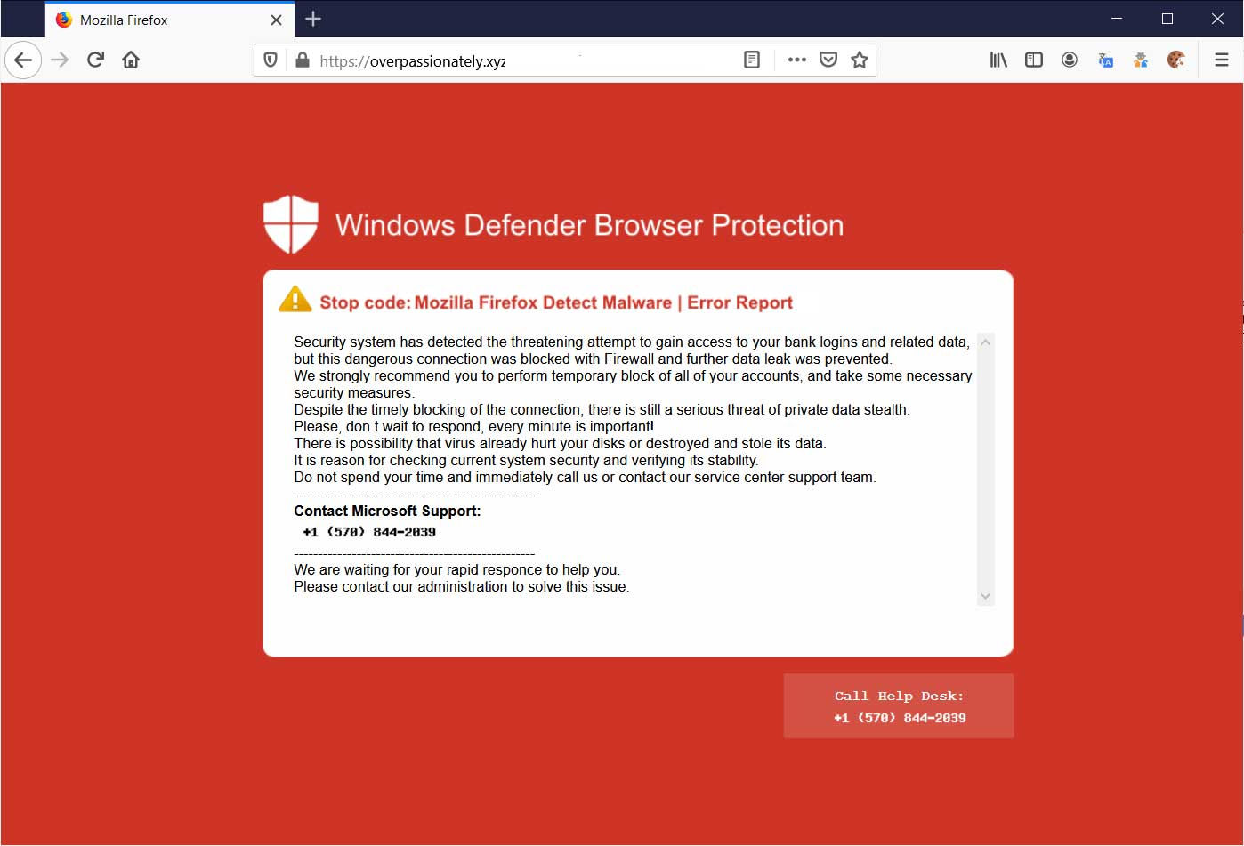 Windows Defender Browser Protection Tech Support Scam