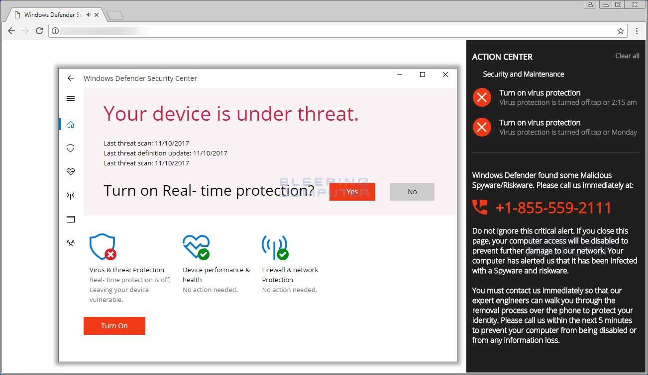 Windows Defender Security Center Tech Support Scam