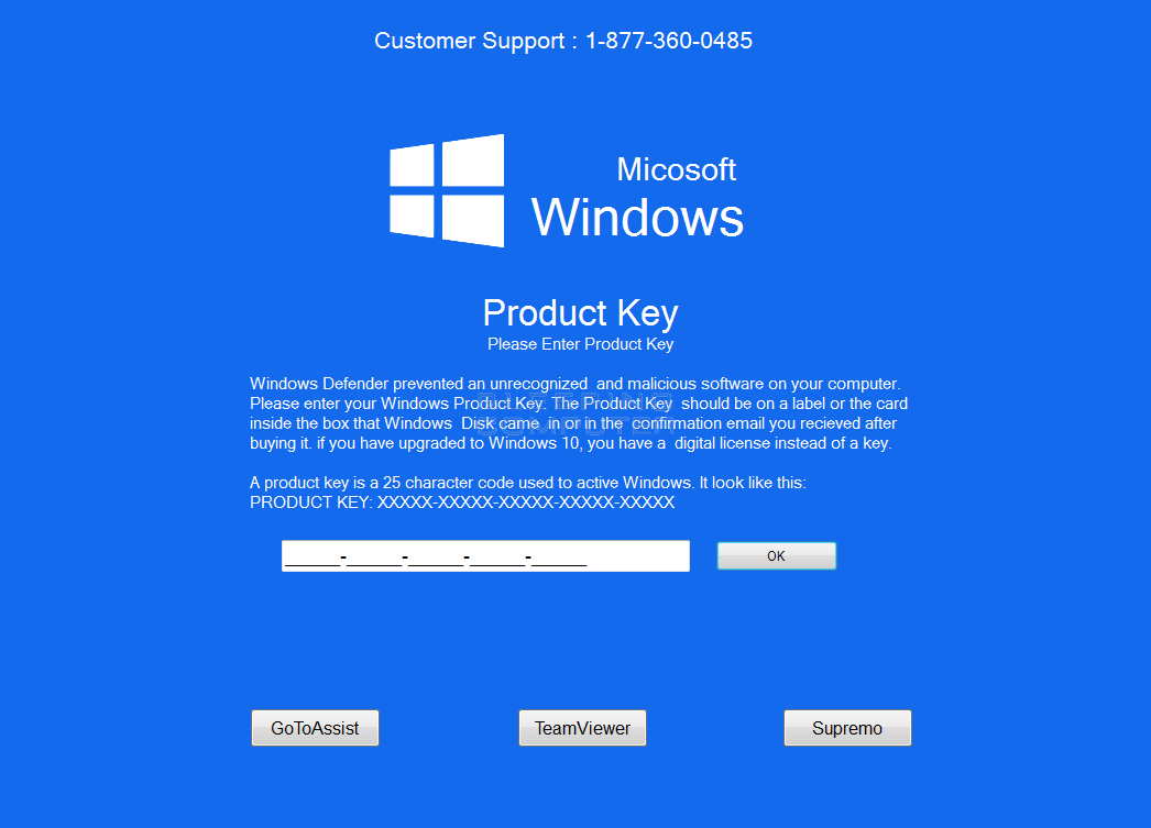 Fake Windows Defender Alert Screen