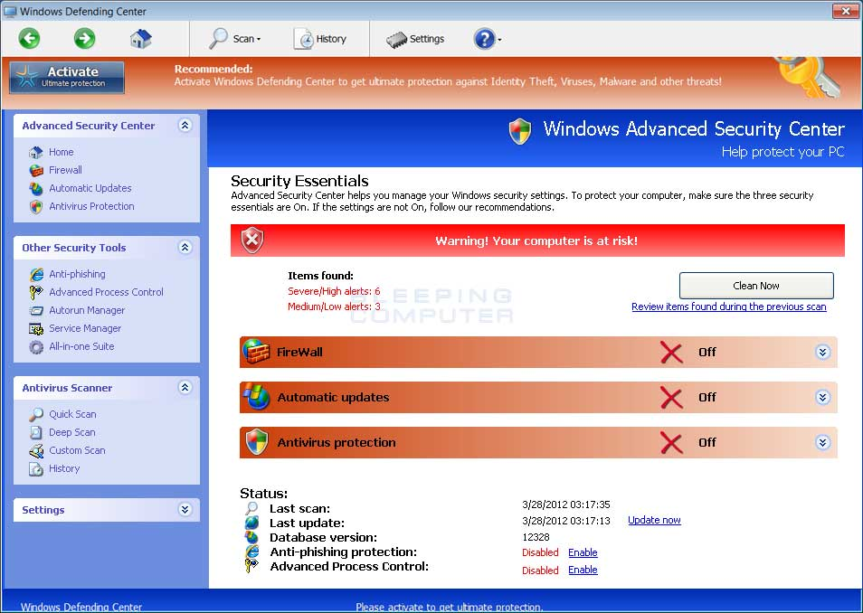 Windows Defending Center screen shot