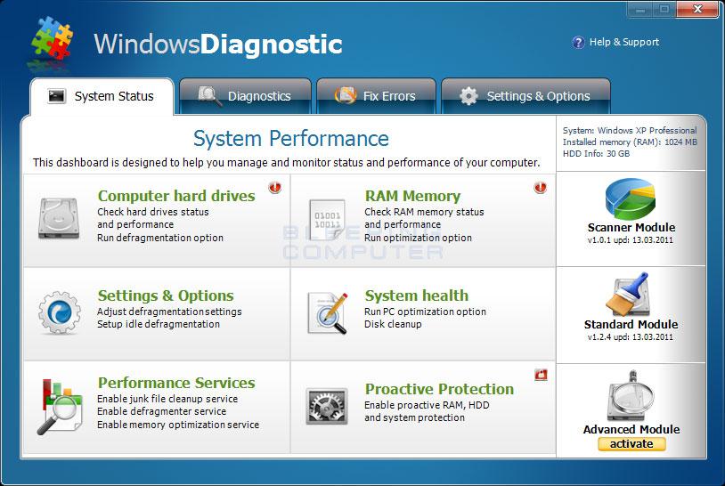 Windows Diagnostic screen shot