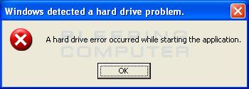 Disk error alert
