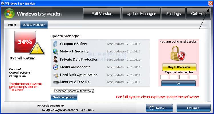 <strong>Windows Easy Warden</strong> start screen