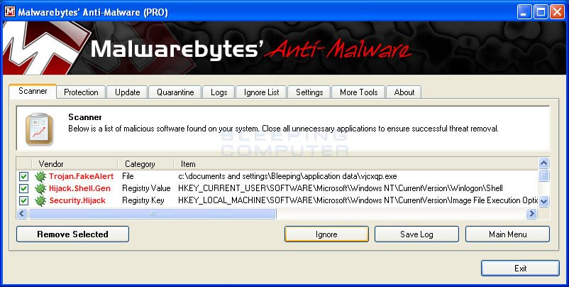 MalwareBytes Scan Results